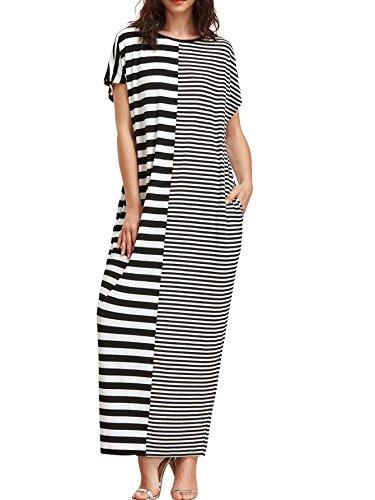 Verdusa Women's Pockets Short Sleeve Color Block Striped Maxi Long Dress multicolored (Color Block Short Sleeve Dress)