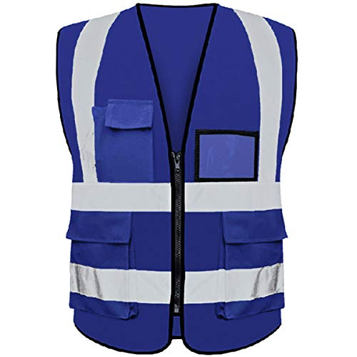 (Reflective Safety Vest ANSI Class 2 High Visibility with 5 Pockets and Zipper XL 2XL Royal-blue)