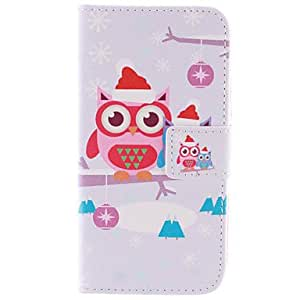 qyf Owl PU Leather Wallet Full Body Case with Stand and Card Slot for Samsung Galaxy E5 SM-E500F