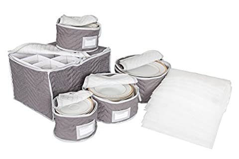 Richards Homewares Deluxe Microfiber China and Stemware Storage Set with Braidz Foam Padding - Grey