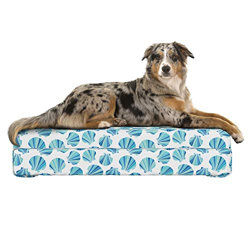 "Lunarable Seashells Dog Bed, Scallops with Stripes in Blue Tones Abstract Ocean Life Theme, Dog Pillow with High Resilience Visco Foam for Pets, 32"" x 24"" x 6"", Aqua Pale Green and Navy Blue"