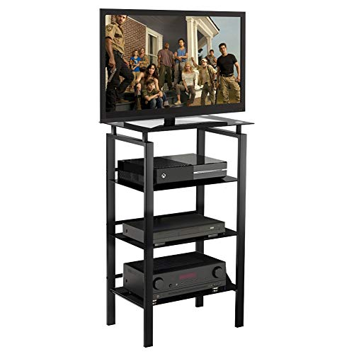 INVIE 4-Tier Media Stand Audio/Video Component Cabinet with Glass Shelf Open Shelving Bookcase