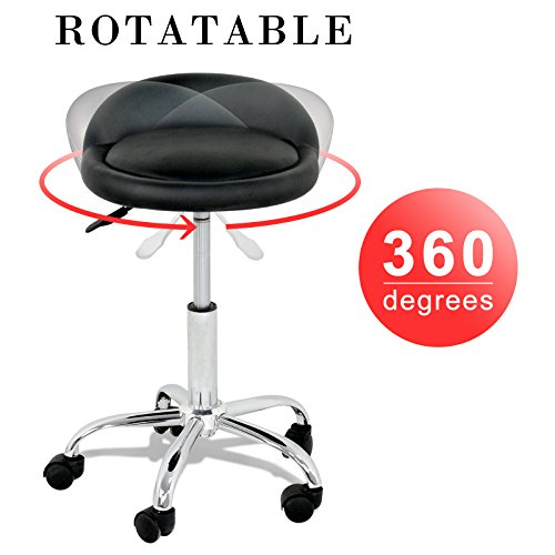 Back Adjustable Stools (Adjustable Hydraulic Rolling Swivel Stool Facial Massage Spa Salon Tattoo Medical Stool Chair with Back Rest)