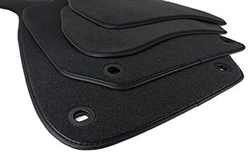 Amazon.es: kfzpremiumteile24 Felpudo de terciopelo en calidad original 4 piezas en negro con borde de cuero y fijaciones ovaladas