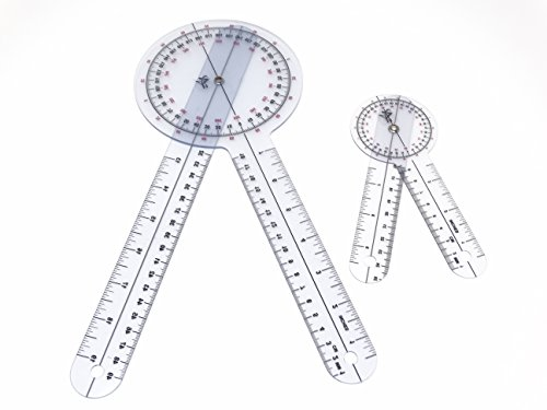 Set of 2 Piece Spinal Goniometer Protractor Ruler 360 Degree 12 inch 6 inch GN-12-6 (A2Z) ()