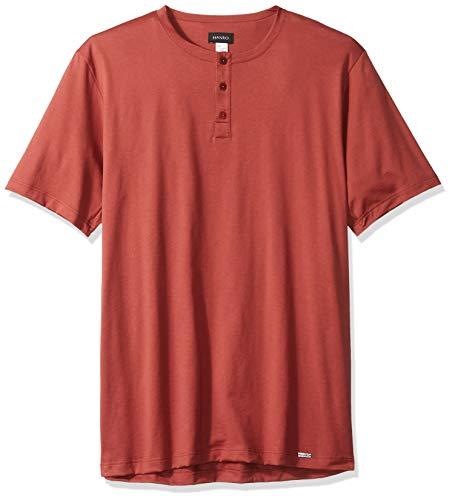 HANRO Men's Night & Day Short Sleeve Henley Shirt, Brick Large ()