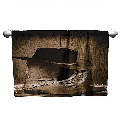 alisoso Western,Fitness Towels Wild West Themed Cowboy Hat and Old Ranching Rope On Wooden Display Rodeo Cowboy Style Bath Towels for Kids Brown W 35