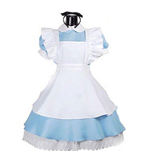 [Bonamana Women Halloween Alice in Wonderland Costume Cosplay with Apron] (Halloween French Maid Costumes)