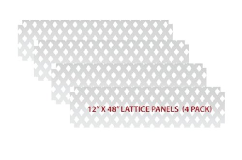 (1 ft. H x 4 ft. W White Modular Vinyl Lattice Fence Panel (4-Pack))