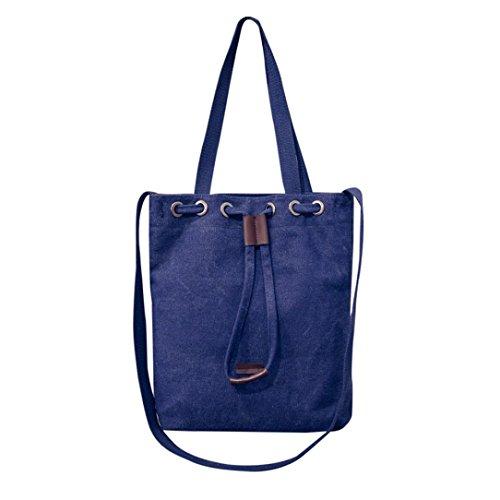 Mujer Azul Bolsa Grande para hombro por F de Azul y ESAILQ de Bolso Bandolera lona Shoppers yBq01wqzx