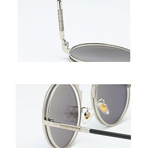 lunettes ronde de Steampunk UV400 soleil avec hommes Frame pour Green lunettes GAOLIXIA soleil Retro poche femmes de Gothic Metal Lentille ZxqfaPdq
