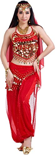 Belly Dance Outfit Costumes Set India Dance Outfit Top Veil Pants -