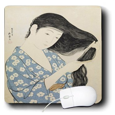 3dRose Ancient Woodblock Print of Woman in Blue Combing Her Hair Mouse Pad (mp_100700_1)