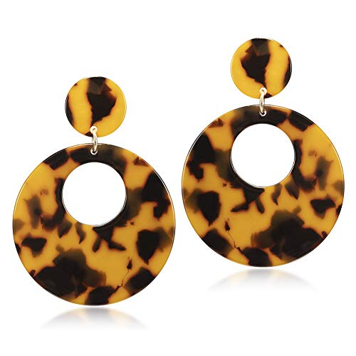 Plastic Round Pendant - Tortoise Shell Hoop Earrings for Women Fashion Acrylic Resin Plastic Round Drop Earrings Statement Jewelry