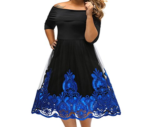 YeeATZ Blue Lacy Embroidery Tulle Skirt Curvy Skater - Pakistani Movie Blue