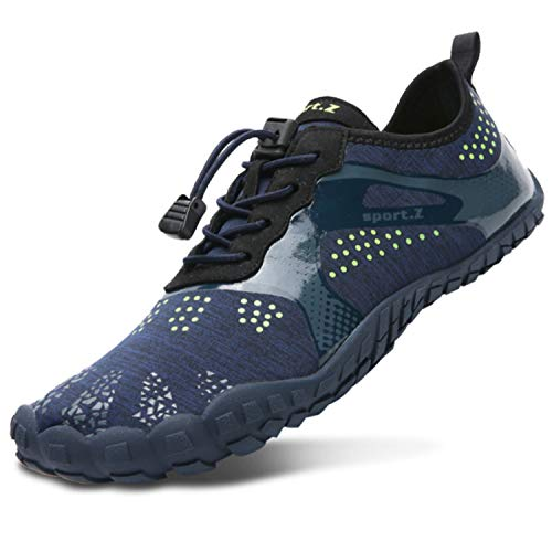 L-RUN Mens Trail Running Quick Dry Hiking Shoes Breathable Blue Women_4.5 M US ()