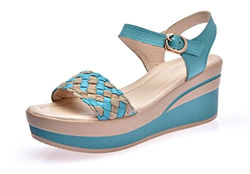 primera capa de piel de sandalias de cuero y sandalias de los deslizadores de las mujeres Blue