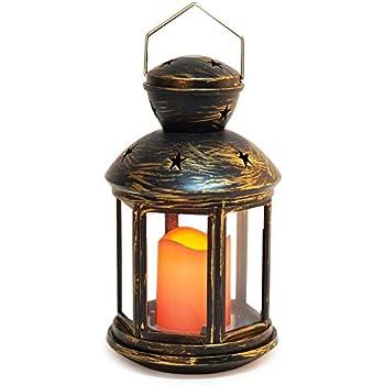 Amazon.com: BRIGHT ZEAL Vintage HEXAGON Candle Lantern with LED ...