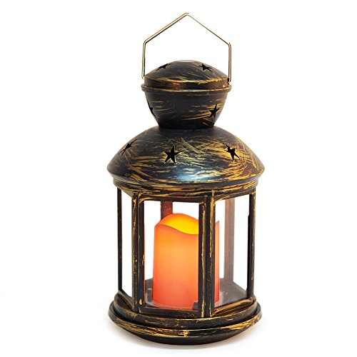 BRIGHT ZEAL Vintage HEXAGON Candle Lantern with LED Flickering Flameless Candle (Distressed BRONZE, 9