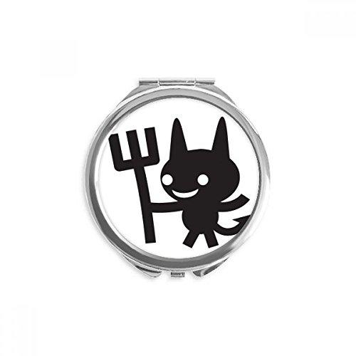 Devil Happy Fear Halloween Mirror Round Portable Hand Pocket Makeup -