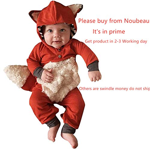 0-3 Month Newborn Halloween Costumes (Newborn Baby Girl Boy Halloween Cosplay Cartoon Clothes Fox Coat Fur Bodysuit Jumpsuit Hooded Playsuit Romper Overall Outfit (Orange, 0-6)