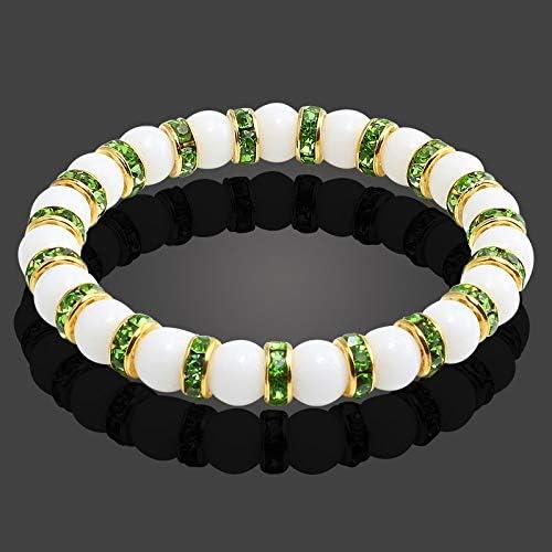 QXFD 11スタイルナチュラルストーンチャクラ弾性ブレスレット男性白磁ヒーリングバランスビーズレイキ仏の祈りのブレスレット女性 (Color : Gold green drill)
