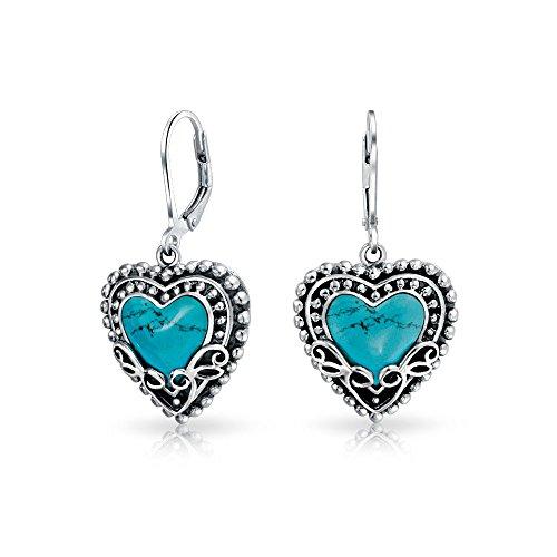 Bali Style Stabilized Turquoise Heart Shape Leverback Drop Earrings For Women Oxidized 925 Sterling Silver - Motif Turquoise Earrings