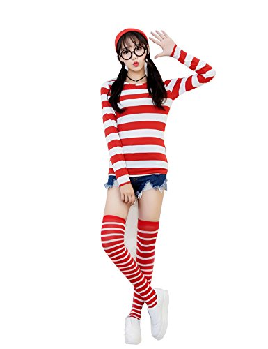 [Where's Waldo Now Costume Kit Adult and Children Funny Sweatshirt Hoodie Outfit Glasses Hat Cap Suits (L, female)] (Wenda Adult Costumes)