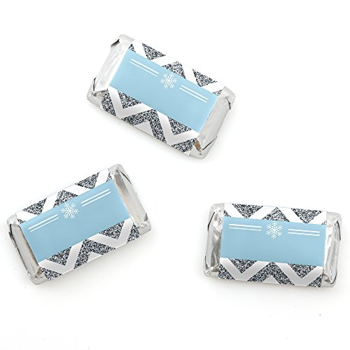 Winter Wonderland - Mini Candy Bar Wrappers Snowflake Holiday Party & Winter Wedding Favors - 20 Count