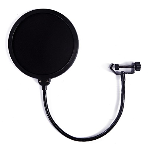 Blue Windscreen (HDE 6 Inch Pop Filter Shield Studio Microphone Wind Screen with Stand Clip for Blue Yeti Microphones and USB Condenser Mics)