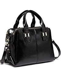 VASCHY Satchel Bags for Women, Faux Patent Leather Top Handle Handbag Work Tote Purse with Triple Compartments