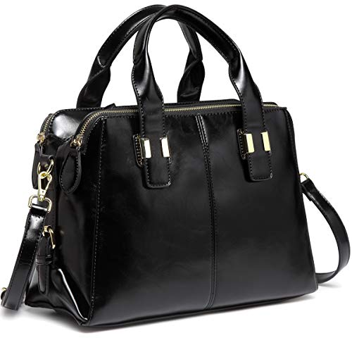 n, VASCHY Faux Patent Leather Top Handle Handbag Work Tote Purse with Triple Compartments Black ()