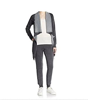 Calvin Klein Womens Draped Cardigan, Slate Heather, Small