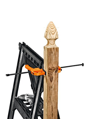 WORX Clamping Sawhorse Pair with Bar Clamps, Built-in Shelf and Cord Hooks...