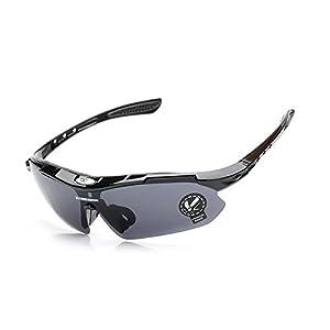 Men Women Polarized Outdoor Sports Cycling UV400 Sunglasses Eyewear Professional Bicycle Bike Glasses RSB0089-1 Black