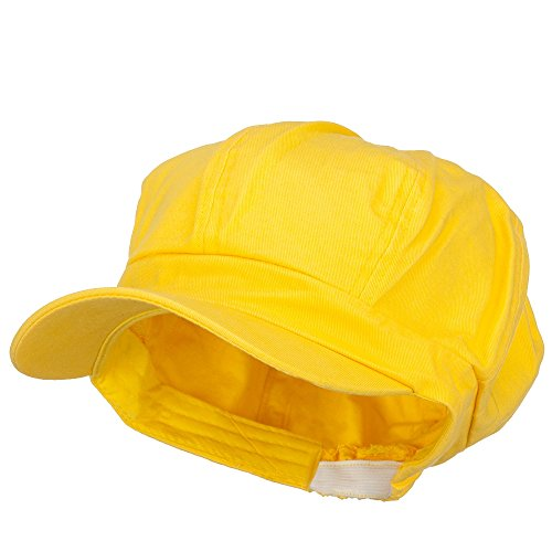 Cotton Elastic Newsboy Cap-Yellow W15S55D -