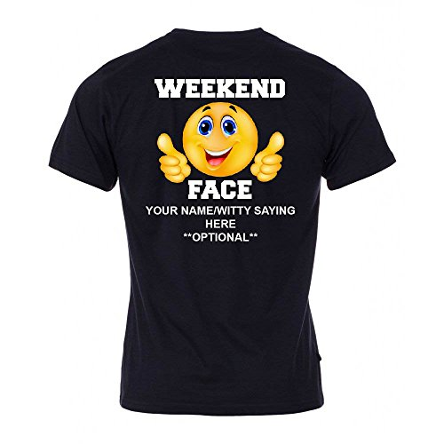 Personalized Black Face - Personalized-Custom Smiley Emoji Weekend Face T Shirt, Black, Sizes Small, Medium, Large and XL