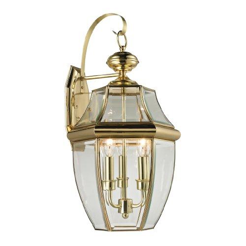 - Cornerstone Lighting 8603EW/85 Ashford 3 Light Exterior Coach Lantern, Antique Brass