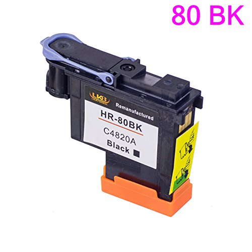 LKB 1PK HP80 Printhead C4820A with black color Compatible with New Updated Chips fit for HP DesignJet 1050c 1050c Plus 1055C 1055cm 1055cm Plus (1BK)-US