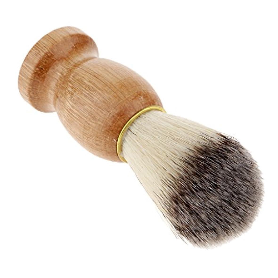 アテンダント賢い昆虫を見るFenteer シェービングブラシ 木製ハンドル 男性 ひげ剃りブラシ ひげ クレンジング