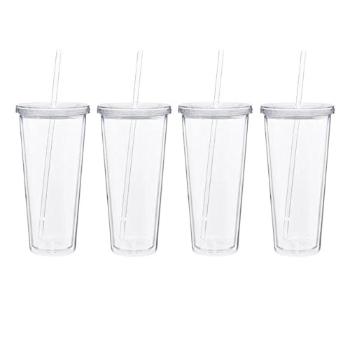 (22oz. Double Wall Tumbler Cup Clear with lids and straws - Set of)