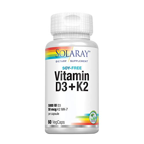 Solaray® Vitamin D3 + K2 | D & K Vitamins for Calcium Absorption and Support for Healthy Cardiovascular System & Arteries | Non-GMO & Soy-Free | 60 Ct