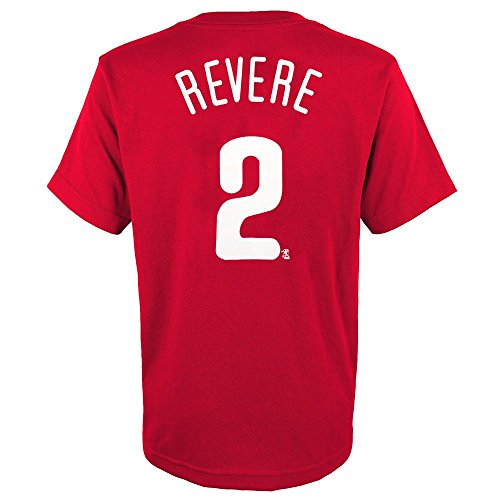 Mlb Phillies Player (Outerstuff Ben Revere MLB Philadelphia Phillies Player Jersey Red T-Shirt Youth (XS-XL))