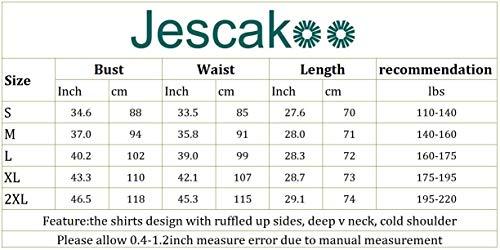 Jescakoo Women's Short Sleeve Cut Out Cold Shoulder Tops Deep V Neck T Shirts 6
