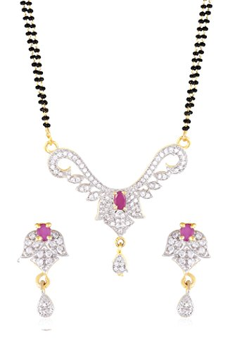 Fasherati indian cz pink ruby stone double layer Indain style wedding special mangal sutra with Earrings for girls