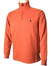 Mens Half Zip French Rib Cotton Sweater (Large, Orange)