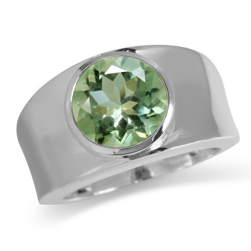 Green Amethyst Solitaire Ring (Natural Green Amethyst 925 Sterling Silver Solitaire Ring Size 7)