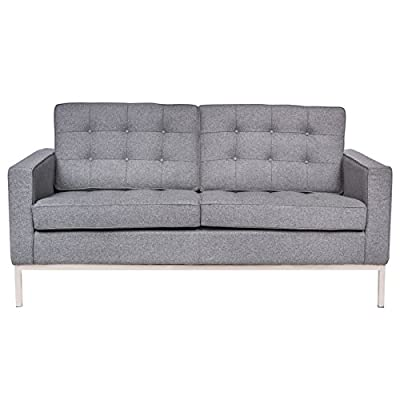 LeisureMod Lorane Mid-Century Tufted Upholstered Loveseat, Light Gray Wool - Fabric is a premium Cashmere Wool blend: 50% Cashmere Wool, 50% viscose High multi-density foam Seat and Back Cushions wrapped in silk layer provide comfort and Cushion structure memory Carefully constructed with a traditional hardwood box frame. Stainless Steel frame Joints are fully Welded, grind, sealed and Sanded. Complete with floor protection pad caps on legs - sofas-couches, living-room-furniture, living-room - 41dDnlyD66L. SS400  -