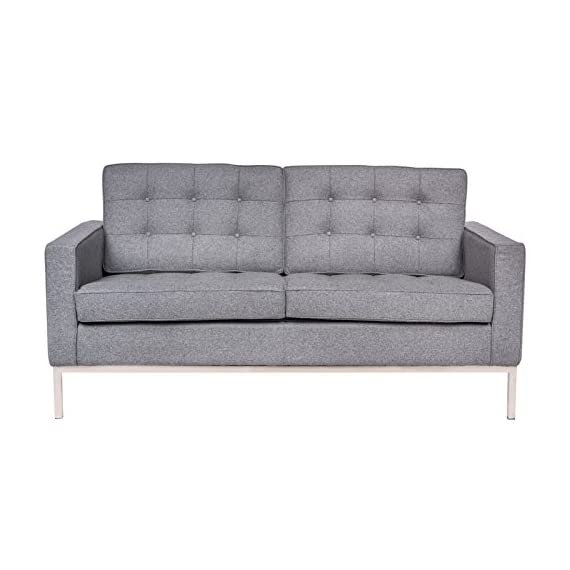 LeisureMod Lorane Mid-Century Tufted Upholstered Loveseat, Light Gray Wool - Fabric is a premium Cashmere Wool blend: 50% Cashmere Wool, 50% viscose High multi-density foam Seat and Back Cushions wrapped in silk layer provide comfort and Cushion structure memory Carefully constructed with a traditional hardwood box frame. Stainless Steel frame Joints are fully Welded, grind, sealed and Sanded. Complete with floor protection pad caps on legs - sofas-couches, living-room-furniture, living-room - 41dDnlyD66L. SS570  -