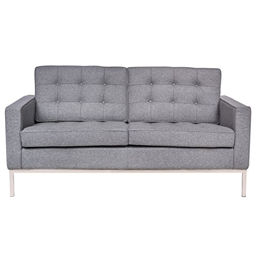 LeisureMod Modern Florence Style Fabric Loveseat Sofa In Light Grey Wool
